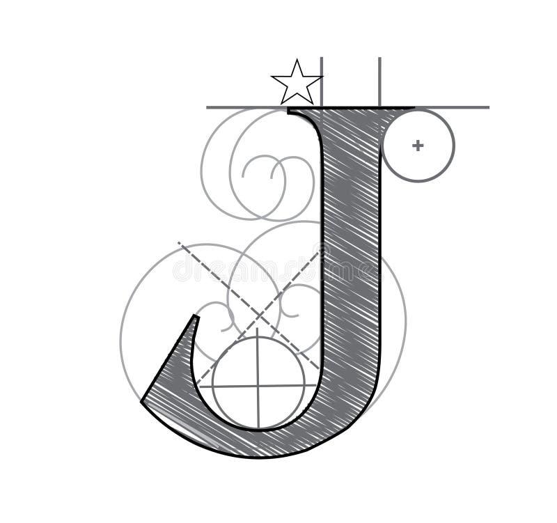 Rotule J ilustração stock