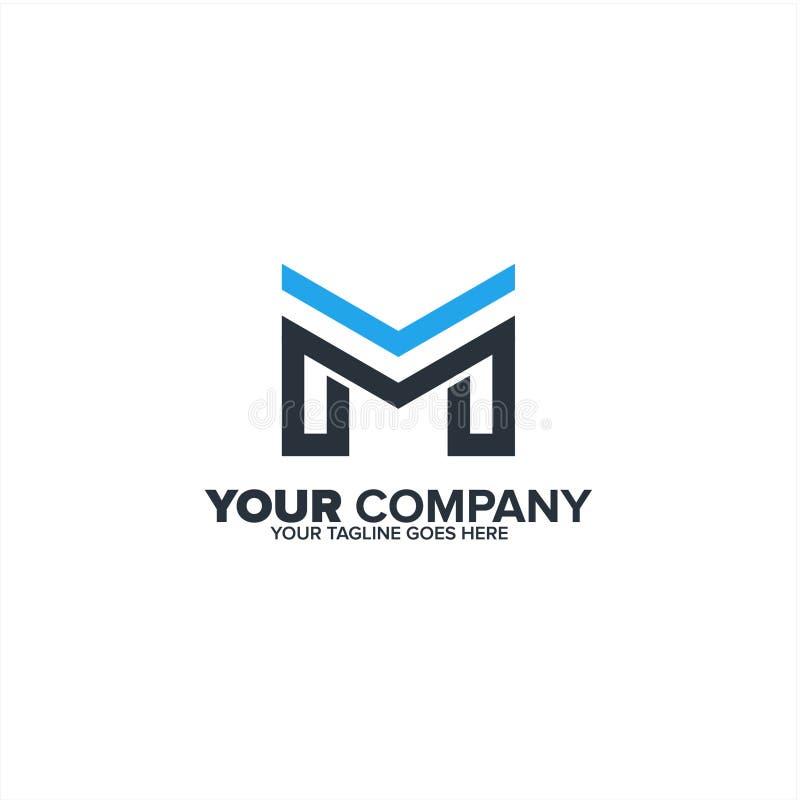 Rotule M para o ícone do logotipo dos bens imobiliários, indústria da construção home fotografia de stock
