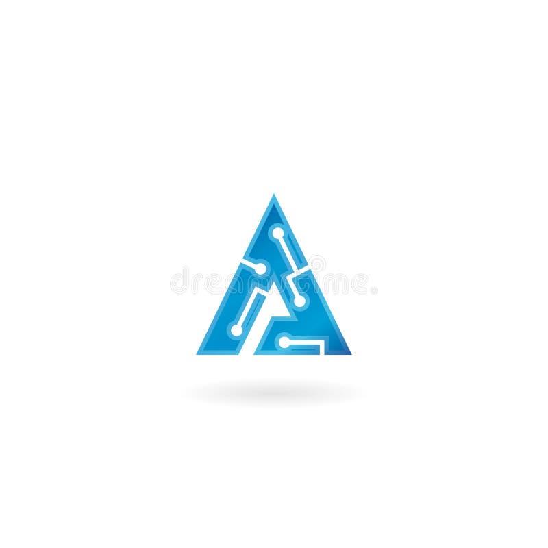 Rotule o ícone de A O logotipo esperto, o computador e os dados da tecnologia relacionaram o negócio, a olá!-tecnologia e o inova ilustração stock