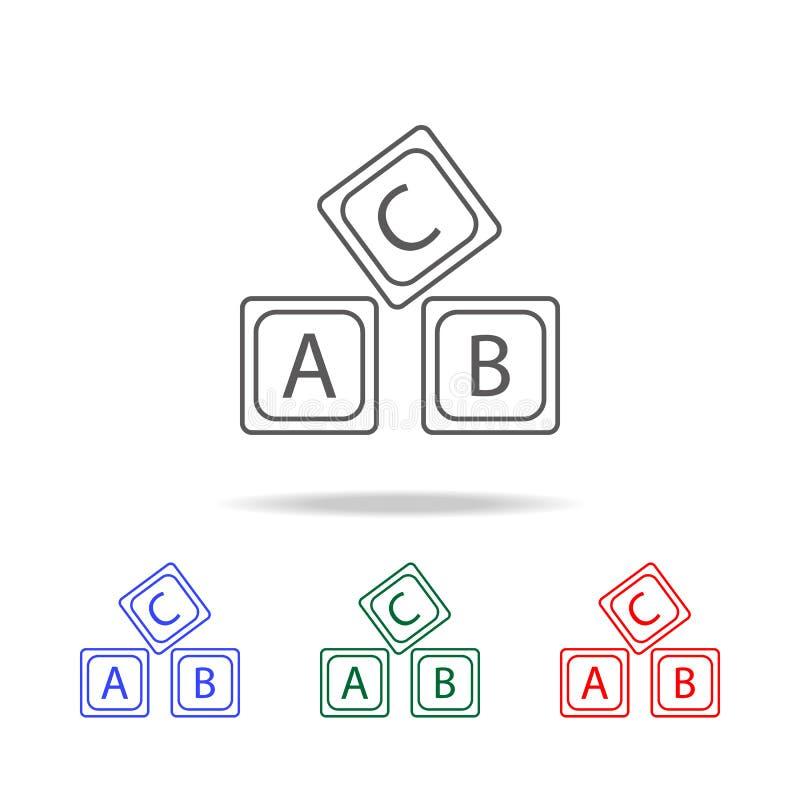 rotule o ícone do alfabeto do logotipo de A B C Elementos de multi ícones coloridos da educação Ícone superior do projeto gráfico ilustração do vetor
