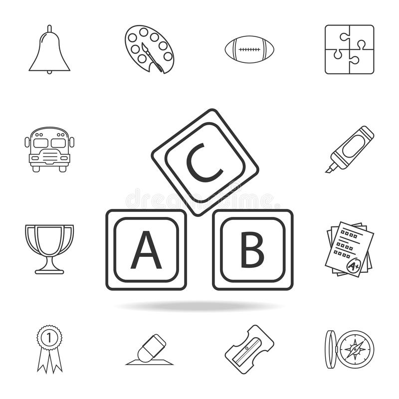 rotule o ícone do alfabeto do logotipo de A B C Grupo detalhado de ícones do esboço da educação Projeto gráfico da qualidade supe ilustração stock