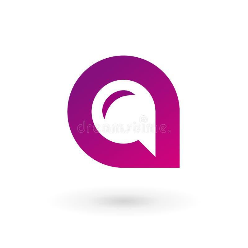 Rotule o ícone do logotipo da bolha do discurso de A para projetar elementos do molde ilustração royalty free