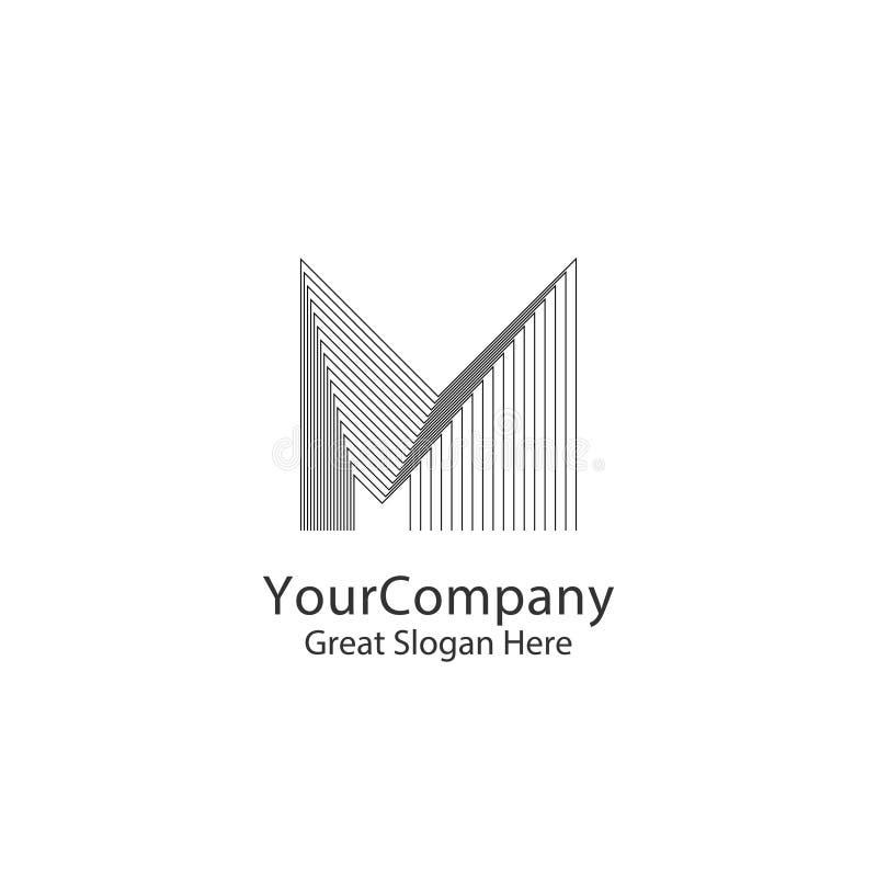 Rotule o conceito de projeto do logotipo de M para a empresa ou a skyline urbana Real Estate da cidade Esboço monocromático criat ilustração stock