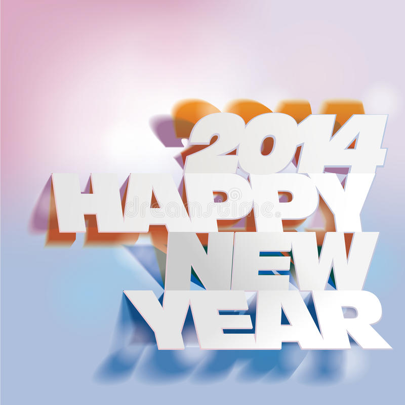 2014: Rotule o dobramento com papel, ano novo feliz ilustração do vetor