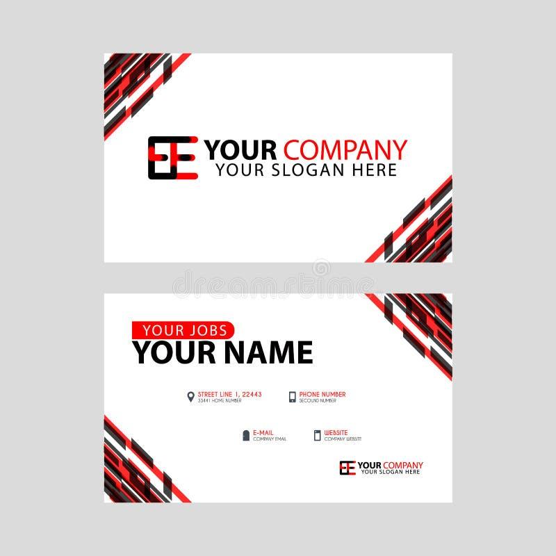 Rotule o logotipo da EE no preto que é incluído em um cartão de nome ou em um cartão simples com um molde horizontal ilustração do vetor
