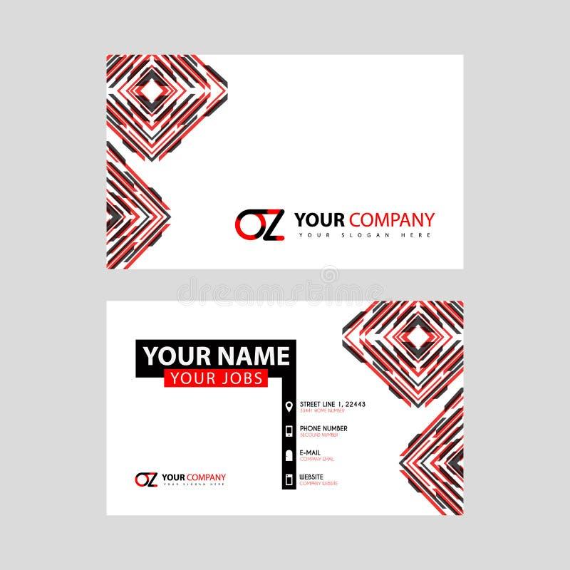 Rotule o logotipo da onça no preto que é incluído em um cartão de nome ou em um cartão simples com um molde horizontal ilustração do vetor