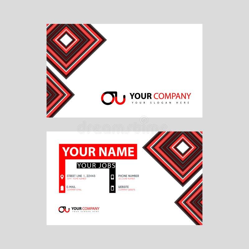 Rotule o logotipo da OU no preto que é incluído em um cartão de nome ou em um cartão simples com um molde horizontal ilustração royalty free