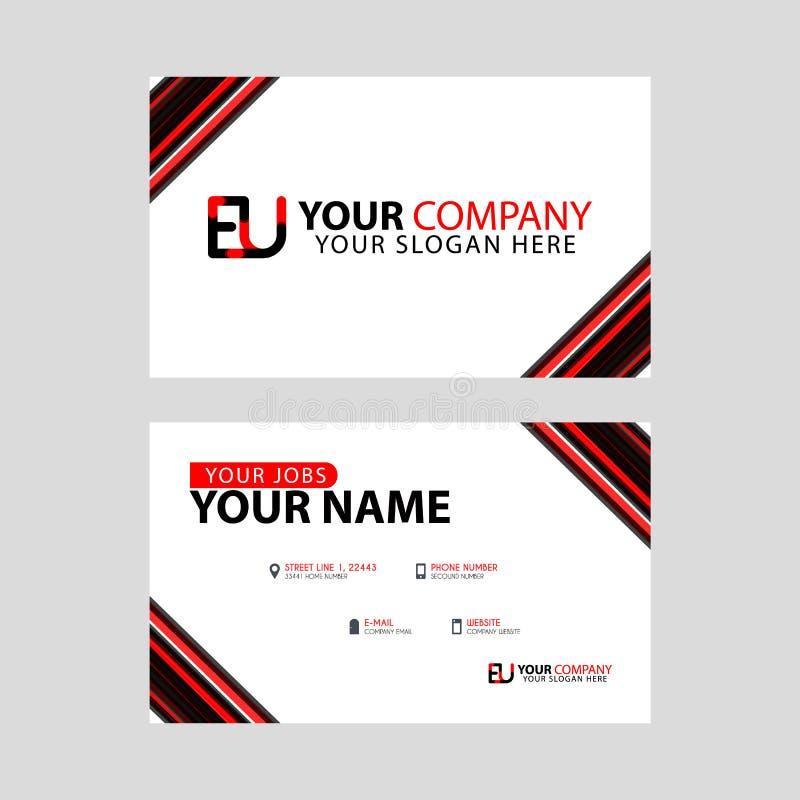 Rotule o logotipo da UE no preto que é incluído em um cartão de nome ou em um cartão simples com um molde horizontal ilustração do vetor
