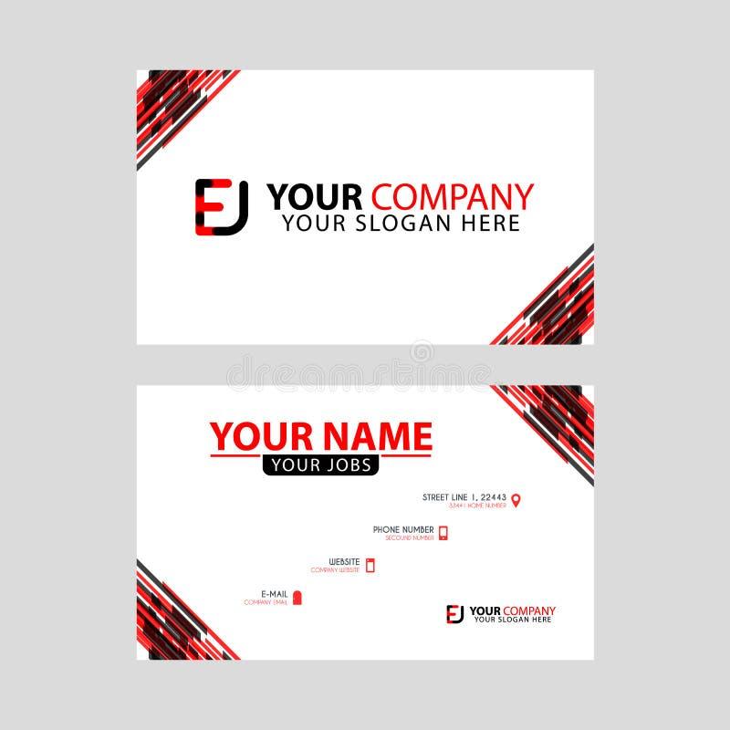 Rotule o logotipo de EJ no preto que é incluído em um cartão de nome ou em um cartão simples com um molde horizontal ilustração royalty free