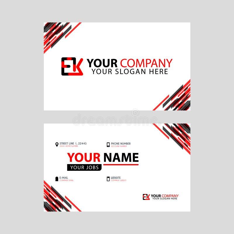 Rotule o logotipo de EK no preto que é incluído em um cartão de nome ou em um cartão simples com um molde horizontal ilustração stock