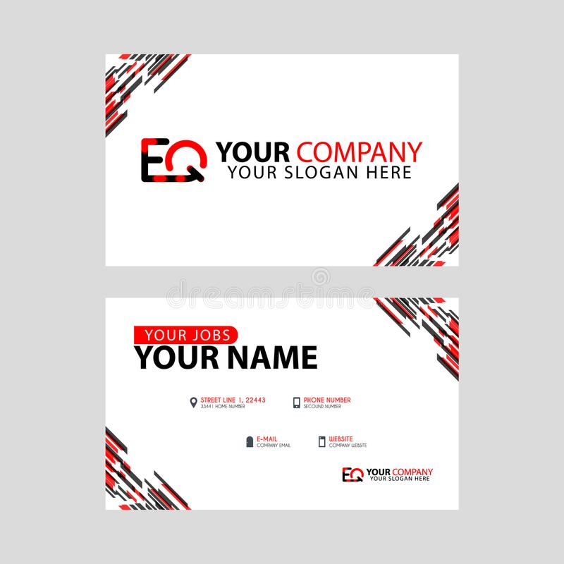 Rotule o logotipo de EQ no preto que é incluído em um cartão de nome ou em um cartão simples com um molde horizontal ilustração stock