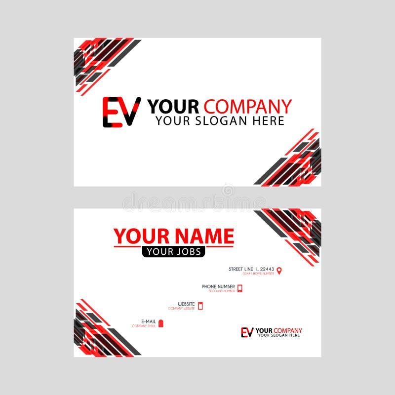 Rotule o logotipo de EV no preto que é incluído em um cartão de nome ou em um cartão simples com um molde horizontal ilustração do vetor