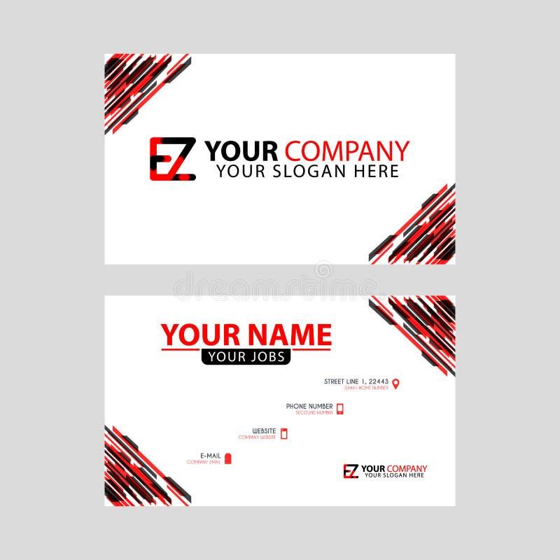 Rotule o logotipo de EZ no preto que é incluído em um cartão de nome ou em um cartão simples com um molde horizontal ilustração do vetor