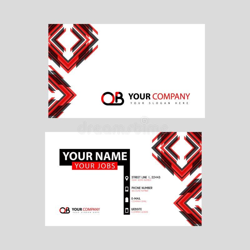 Rotule o logotipo de OB no preto que é incluído em um cartão de nome ou em um cartão simples com um molde horizontal ilustração do vetor
