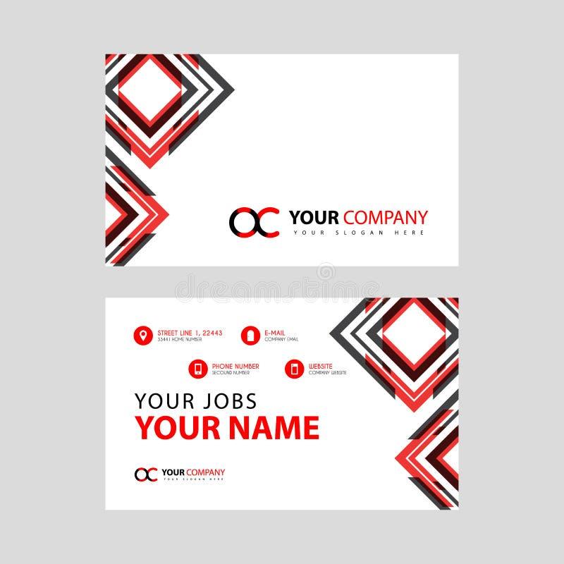 Rotule o logotipo de OC no preto que é incluído em um cartão de nome ou em um cartão simples com um molde horizontal ilustração do vetor