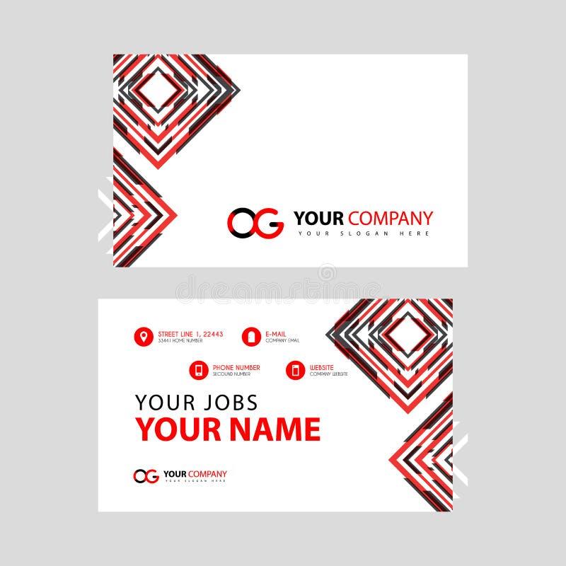 Rotule o logotipo de OG no preto que é incluído em um cartão de nome ou em um cartão simples com um molde horizontal ilustração stock