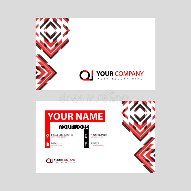 Rotule o logotipo de OI no preto que é incluído em um cartão de nome ou em um cartão simples com um molde horizontal ilustração do vetor