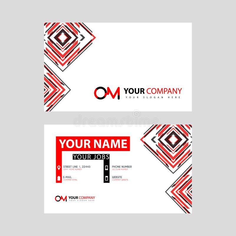 Rotule o logotipo de OM no preto que é incluído em um cartão de nome ou em um cartão simples com um molde horizontal ilustração stock