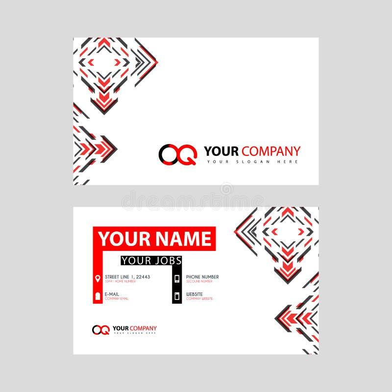 Rotule o logotipo de OQ no preto que é incluído em um cartão de nome ou em um cartão simples com um molde horizontal ilustração do vetor