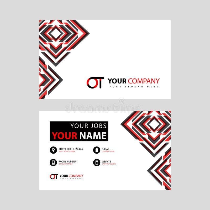 Rotule o logotipo de OT no preto que é incluído em um cartão de nome ou em um cartão simples com um molde horizontal ilustração royalty free