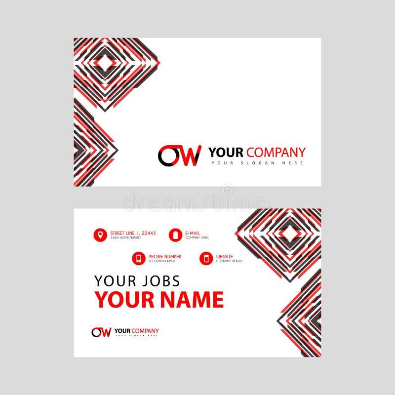 Rotule o logotipo de OW no preto que é incluído em um cartão de nome ou em um cartão simples com um molde horizontal ilustração do vetor