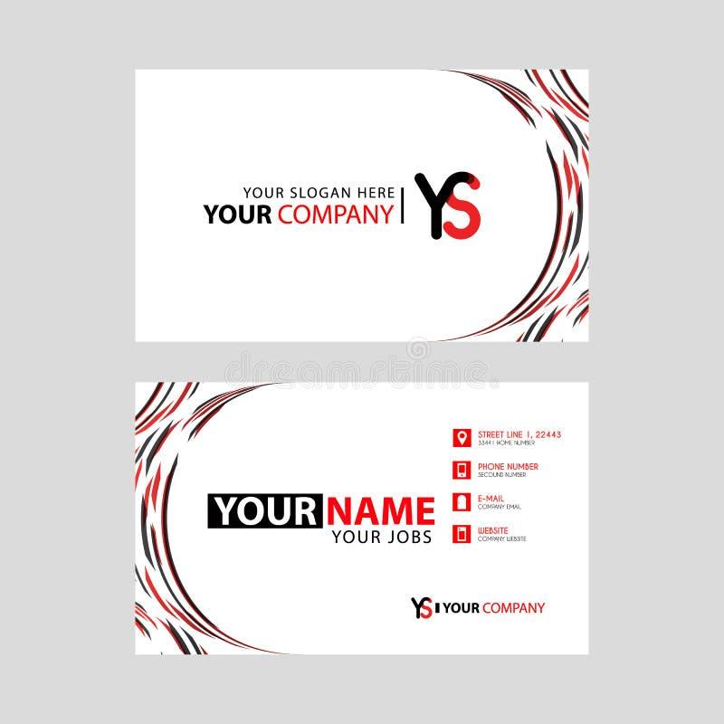 Rotule o logotipo de YS no preto que é incluído em um cartão de nome ou em um cartão simples com um molde horizontal ilustração stock