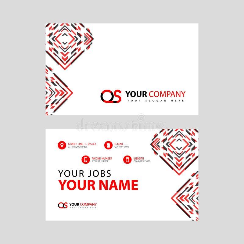 Rotule o logotipo do ósmio no preto que é incluído em um cartão de nome ou em um cartão simples com um molde horizontal ilustração do vetor