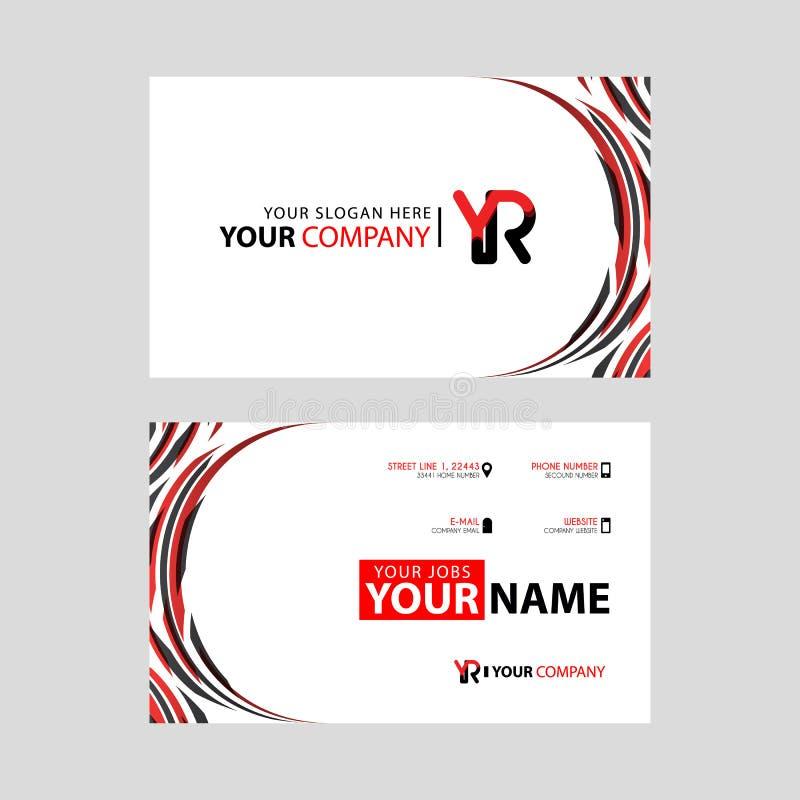 Rotule o logotipo do ano no preto que é incluído em um cartão de nome ou em um cartão simples com um molde horizontal ilustração do vetor