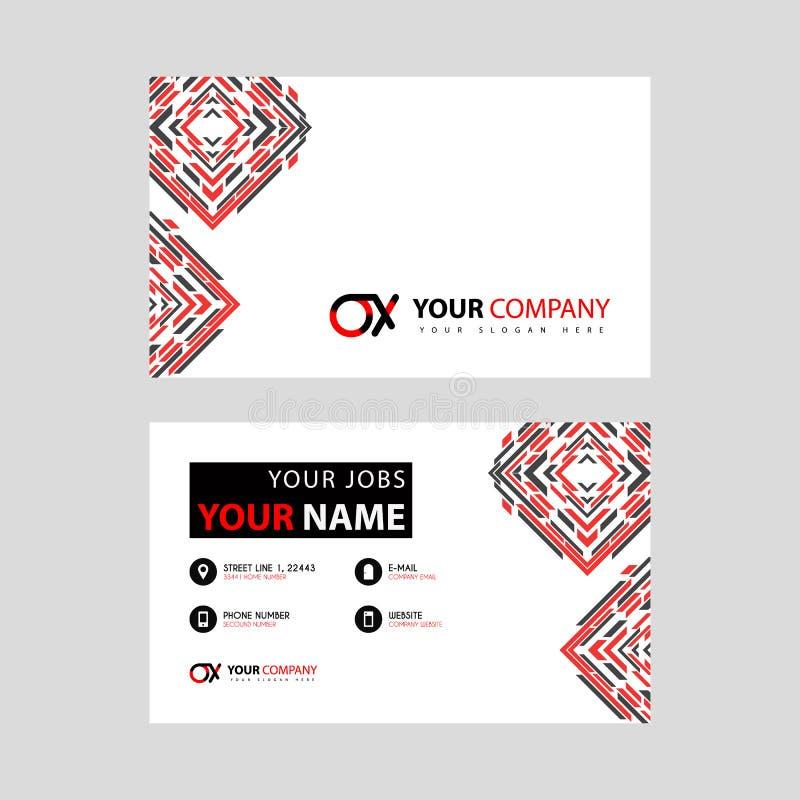 Rotule o logotipo do BOI no preto que é incluído em um cartão de nome ou em um cartão simples com um molde horizontal ilustração do vetor