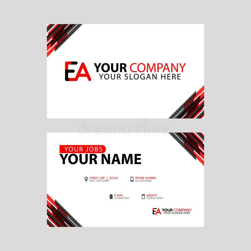 Rotule o logotipo do EA no preto que é incluído em um cartão de nome ou em um cartão simples com um molde horizontal ilustração stock