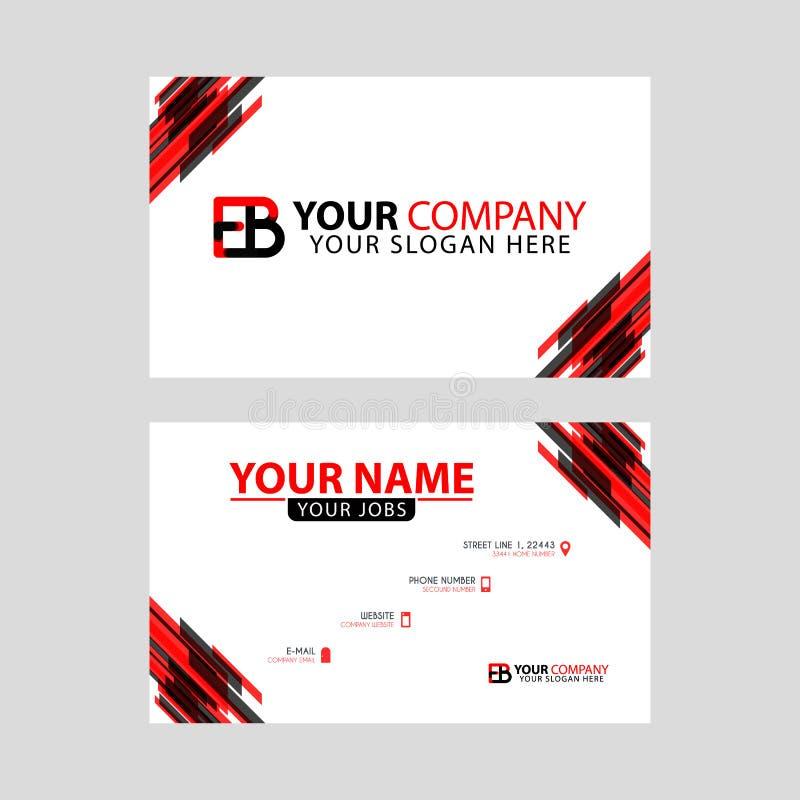 Rotule o logotipo do EB no preto que é incluído em um cartão de nome ou em um cartão simples com um molde horizontal ilustração royalty free