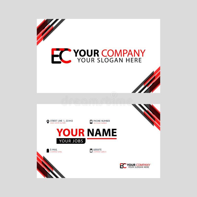 Rotule o logotipo do EC no preto que é incluído em um cartão de nome ou em um cartão simples com um molde horizontal ilustração royalty free