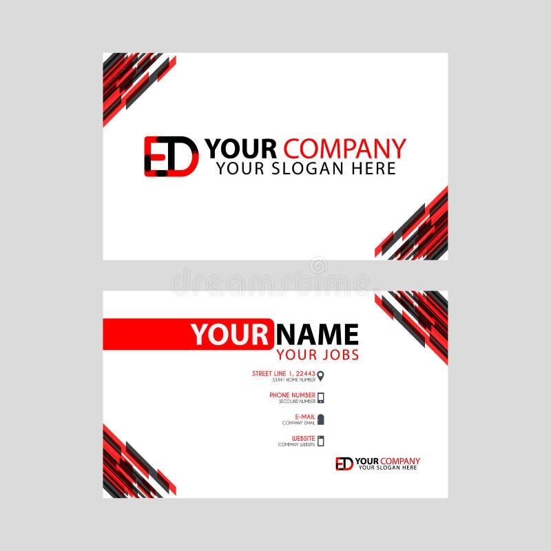 Rotule o logotipo do ED no preto que é incluído em um cartão de nome ou em um cartão simples com um molde horizontal ilustração royalty free