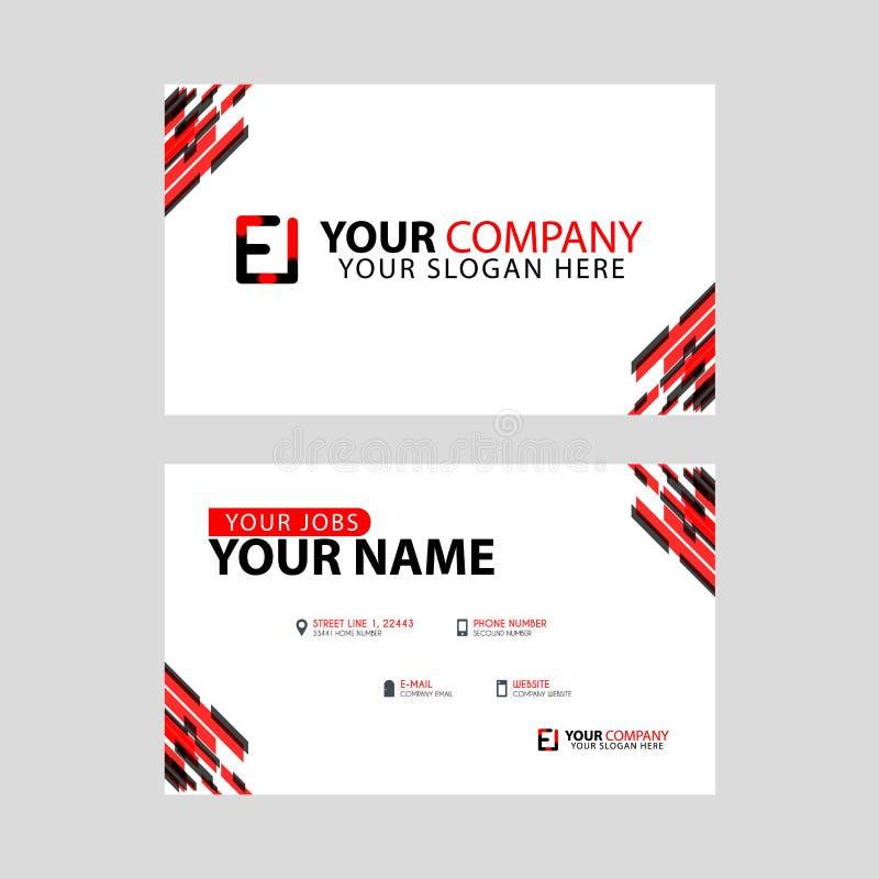 Rotule o logotipo do EI no preto que é incluído em um cartão de nome ou em um cartão simples com um molde horizontal ilustração stock