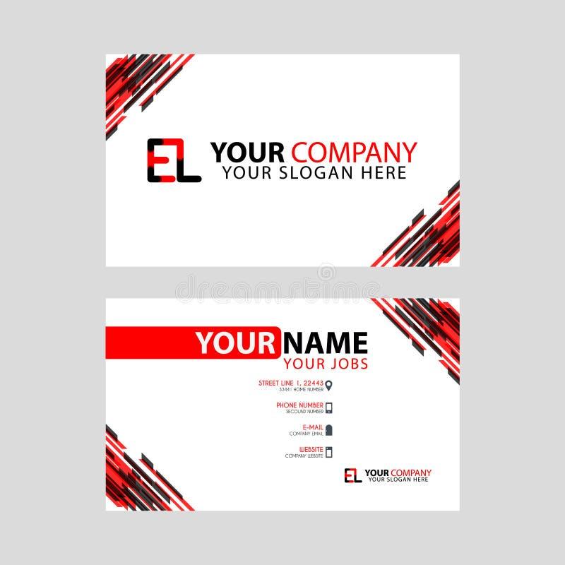 Rotule o logotipo do EL no preto que é incluído em um cartão de nome ou em um cartão simples com um molde horizontal ilustração do vetor