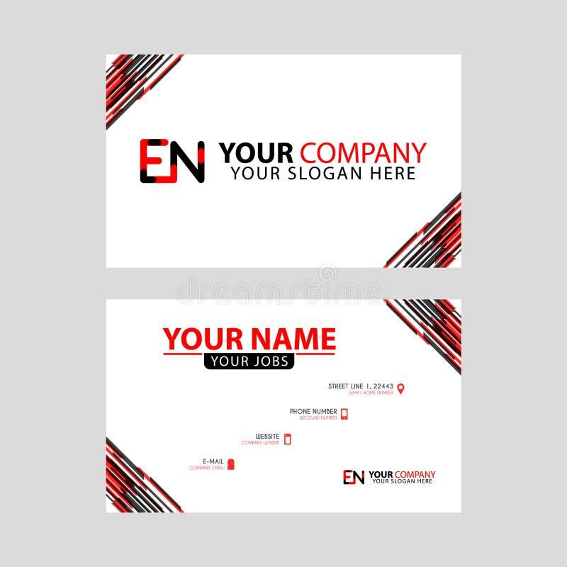 Rotule o logotipo do EN no preto que é incluído em um cartão de nome ou em um cartão simples com um molde horizontal ilustração royalty free