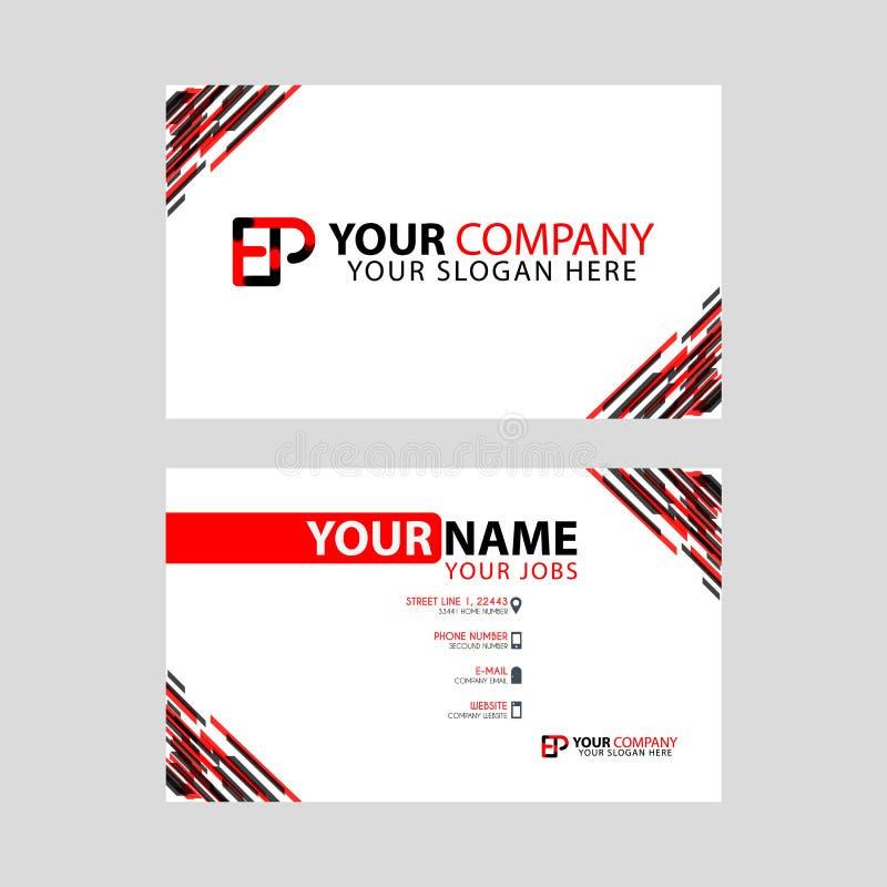 Rotule o logotipo do EP no preto que é incluído em um cartão de nome ou em um cartão simples com um molde horizontal ilustração royalty free