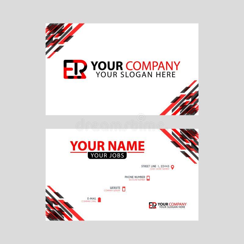 Rotule o logotipo do ER no preto que é incluído em um cartão de nome ou em um cartão simples com um molde horizontal ilustração royalty free