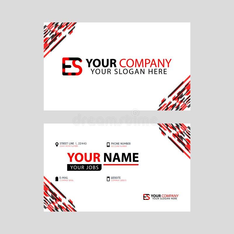 Rotule o logotipo do ES no preto que é incluído em um cartão de nome ou em um cartão simples com um molde horizontal ilustração stock