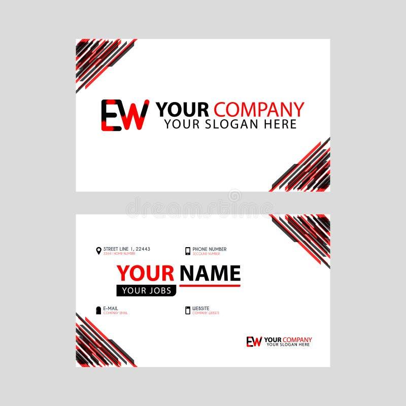 Rotule o logotipo do EW no preto que é incluído em um cartão de nome ou em um cartão simples com um molde horizontal ilustração royalty free