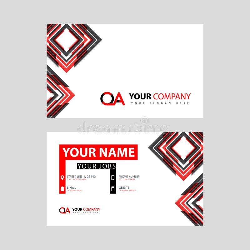 Rotule o logotipo do OA no preto que é incluído em um cartão de nome ou em um cartão simples com um molde horizontal ilustração royalty free