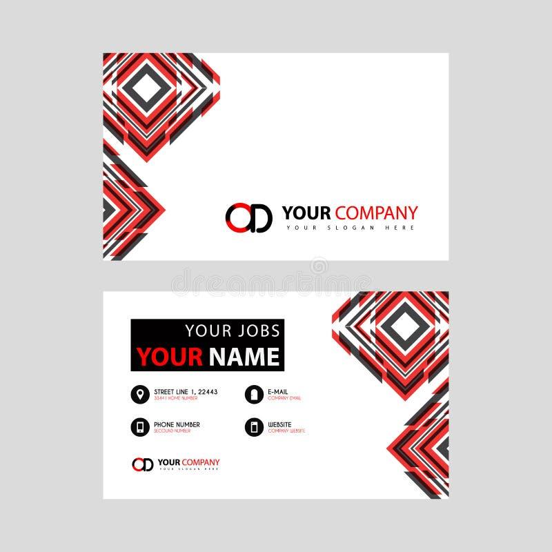 Rotule o logotipo do OD no preto que é incluído em um cartão de nome ou em um cartão simples com um molde horizontal ilustração royalty free