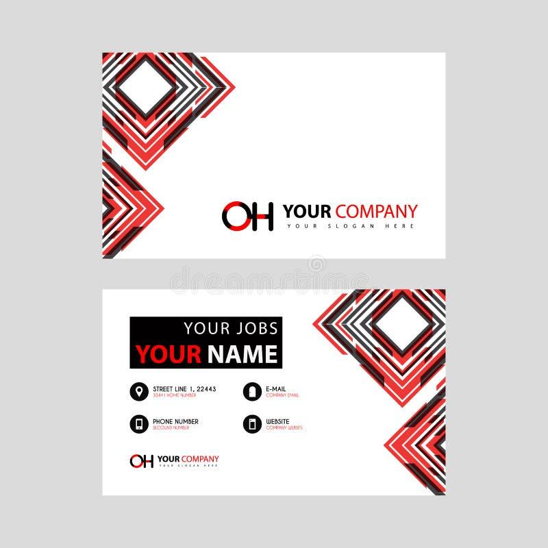 Rotule o logotipo do OH no preto que é incluído em um cartão de nome ou em um cartão simples com um molde horizontal ilustração royalty free