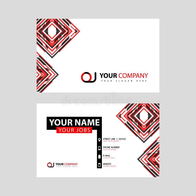 Rotule o logotipo do OJ no preto que é incluído em um cartão de nome ou em um cartão simples com um molde horizontal ilustração royalty free