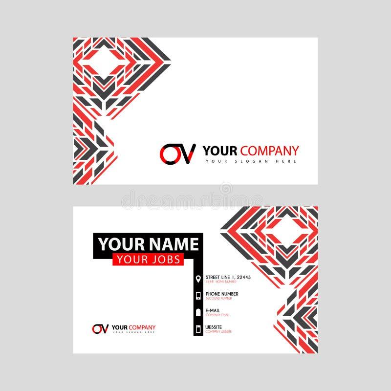 Rotule o logotipo do OV no preto que é incluído em um cartão de nome ou em um cartão simples com um molde horizontal ilustração do vetor