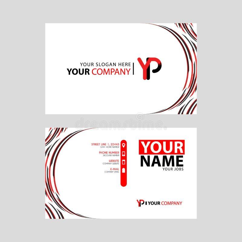 Rotule o logotipo do YP no preto que é incluído em um cartão de nome ou em um cartão simples com um molde horizontal ilustração stock