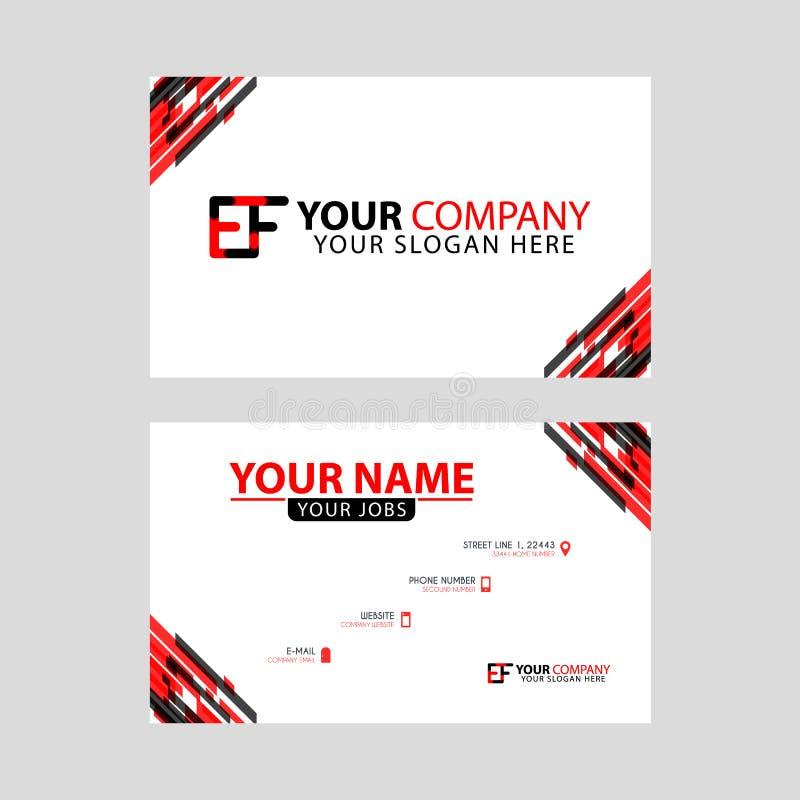 Rotule o logotipo EF no preto que é incluído em um cartão de nome ou em um cartão simples com um molde horizontal ilustração stock