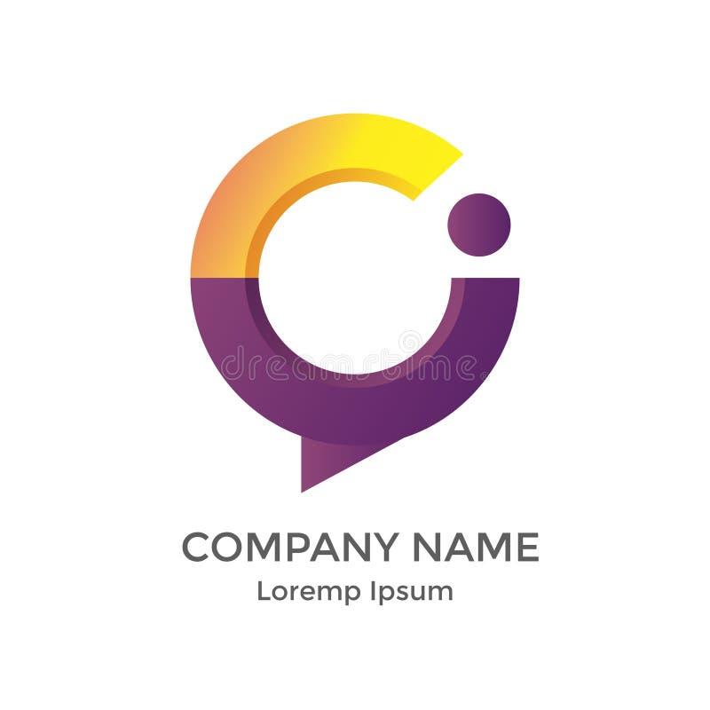 Rotule o logotipo moderno de C e de I para o programador de software imagens de stock