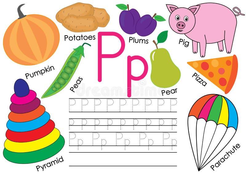 Rotule P Alfabeto inglês Instrução para crianças Prática da escrita com imagens ilustração stock