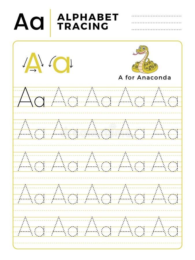 Rotule um livro do traçado do alfabeto com exemplo e desenhos animados engraçados da serpente da anaconda Folha pré-escolar para  ilustração royalty free